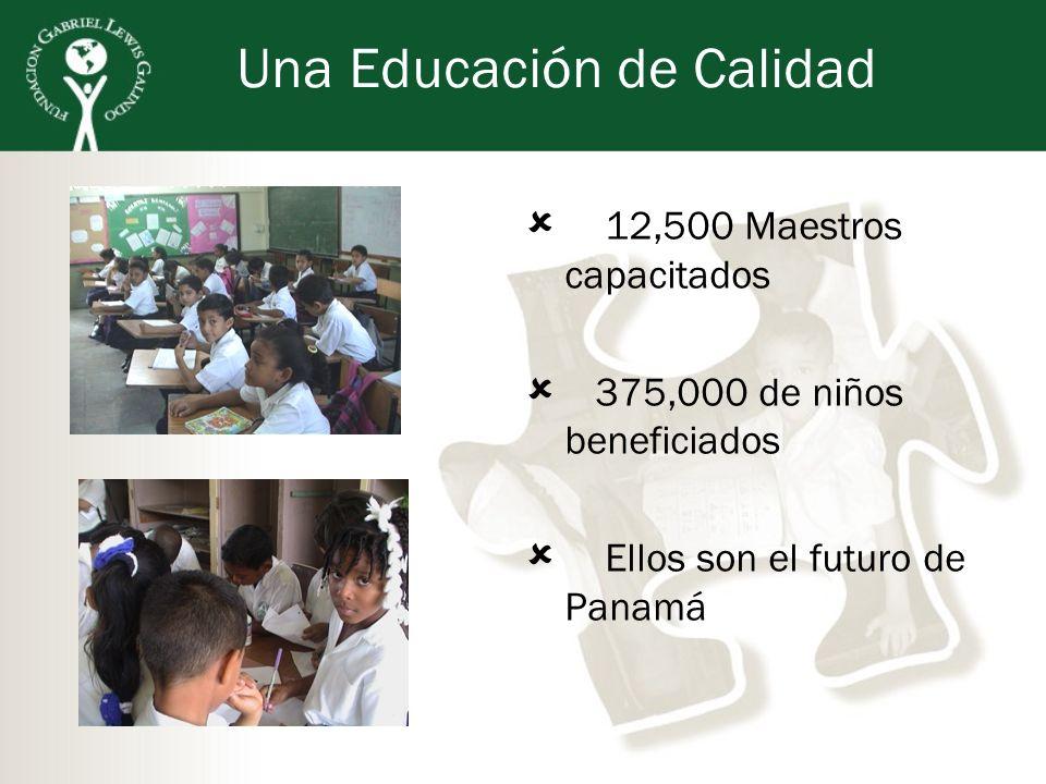 Una Educación de Calidad 12,500 Maestros capacitados 375,000 de niños beneficiados Ellos son el futuro de Panamá