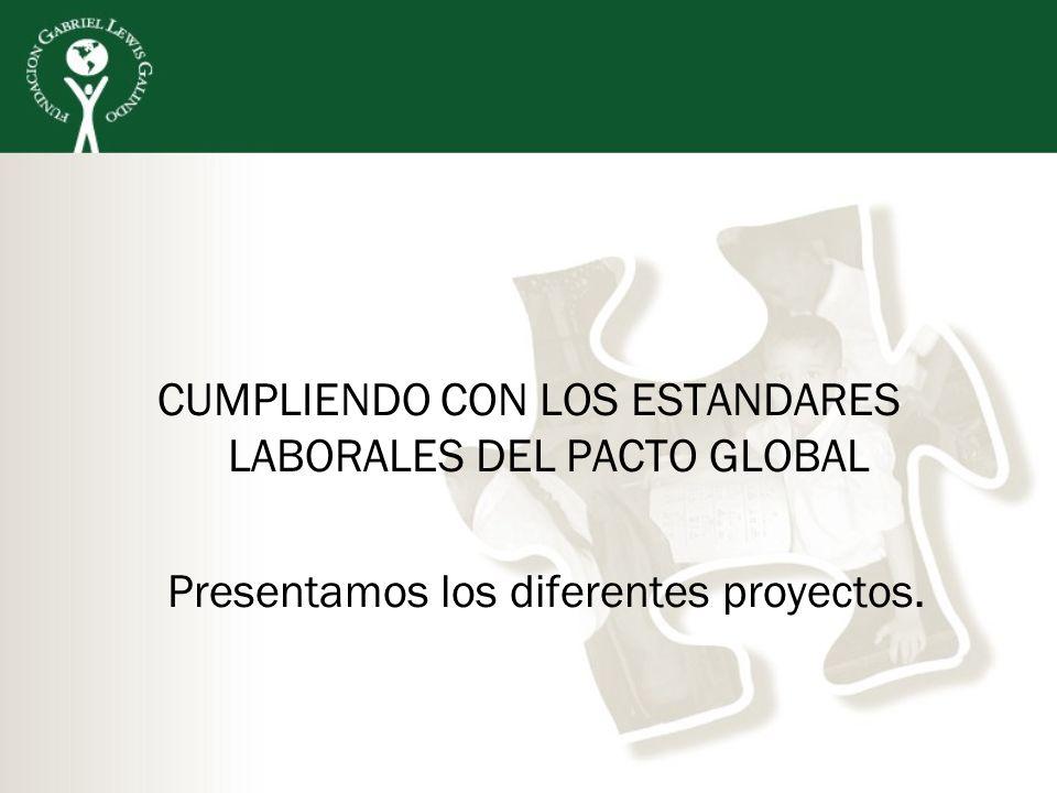 CUMPLIENDO CON LOS ESTANDARES LABORALES DEL PACTO GLOBAL Presentamos los diferentes proyectos.