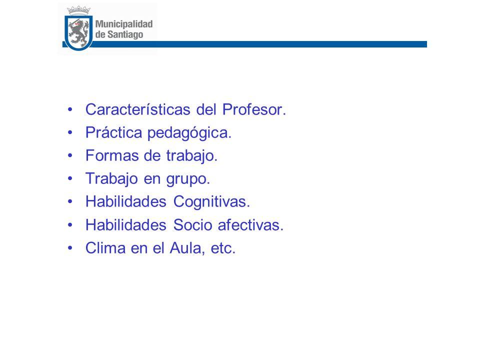 Características del Profesor. Práctica pedagógica. Formas de trabajo. Trabajo en grupo. Habilidades Cognitivas. Habilidades Socio afectivas. Clima en