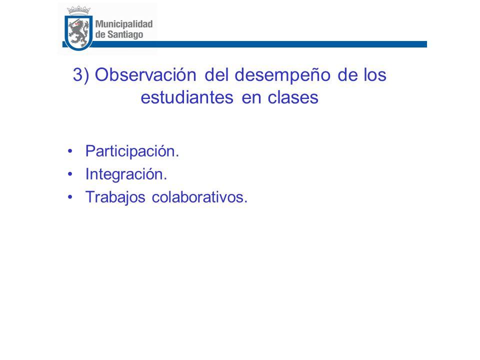 3) Observación del desempeño de los estudiantes en clases Participación. Integración. Trabajos colaborativos.