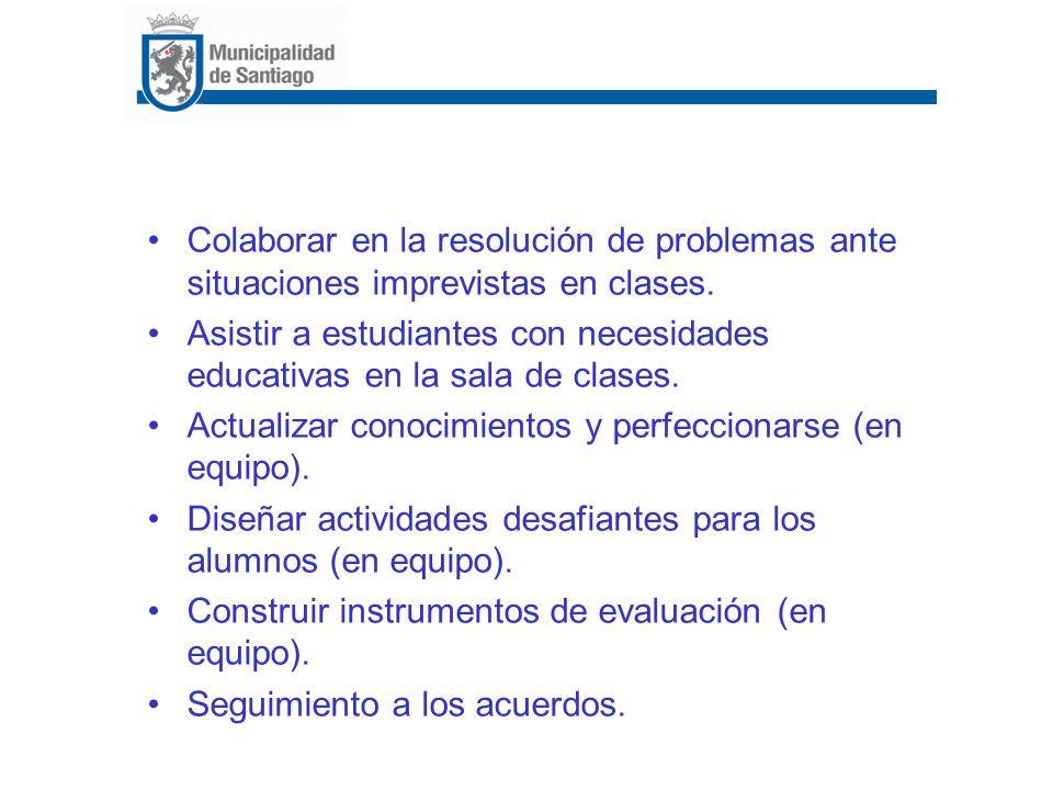 Colaborar en la resolución de problemas ante situaciones imprevistas en clases. Asistir a estudiantes con necesidades educativas en la sala de clases.