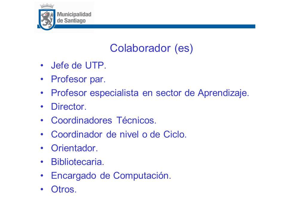 Colaborador (es) Jefe de UTP. Profesor par. Profesor especialista en sector de Aprendizaje. Director. Coordinadores Técnicos. Coordinador de nivel o d