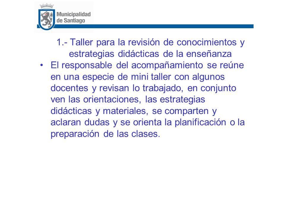 1.- Taller para la revisión de conocimientos y estrategias didácticas de la enseñanza El responsable del acompañamiento se reúne en una especie de min