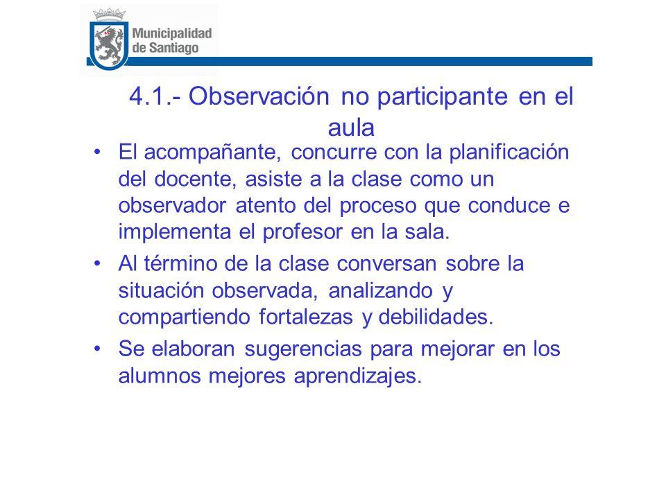 4.1.- Observación no participante en el aula El acompañante, concurre con la planificación del docente, asiste a la clase como un observador atento de