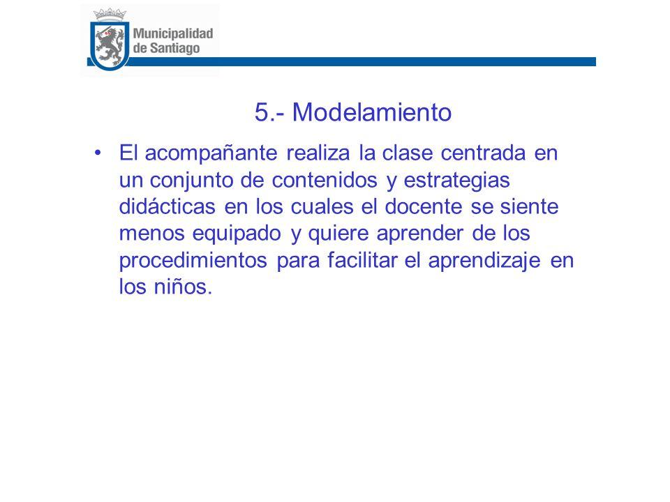 5.- Modelamiento El acompañante realiza la clase centrada en un conjunto de contenidos y estrategias didácticas en los cuales el docente se siente men
