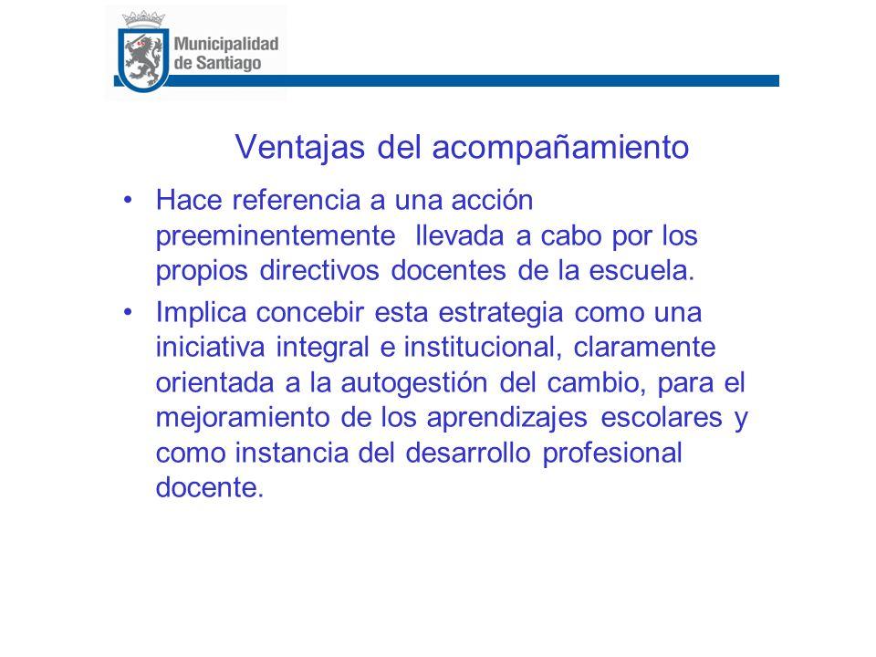 Ventajas del acompañamiento Hace referencia a una acción preeminentemente llevada a cabo por los propios directivos docentes de la escuela. Implica co