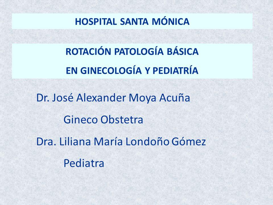 ROTACIÓN PATOLOGÍA BÁSICA EN GINECOLOGÍA Y PEDIATRÍA Dr. José Alexander Moya Acuña Gineco Obstetra Dra. Liliana María Londoño Gómez Pediatra HOSPITAL