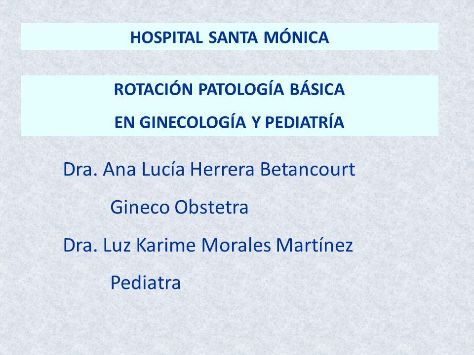 ROTACIÓN PATOLOGÍA BÁSICA EN GINECOLOGÍA Y PEDIATRÍA Dra. Ana Lucía Herrera Betancourt Gineco Obstetra Dra. Luz Karime Morales Martínez Pediatra HOSPI