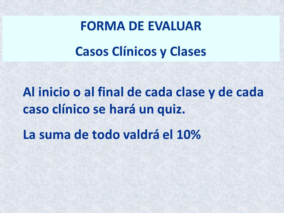 FORMA DE EVALUAR Casos Clínicos y Clases Al inicio o al final de cada clase y de cada caso clínico se hará un quiz. La suma de todo valdrá el 10%