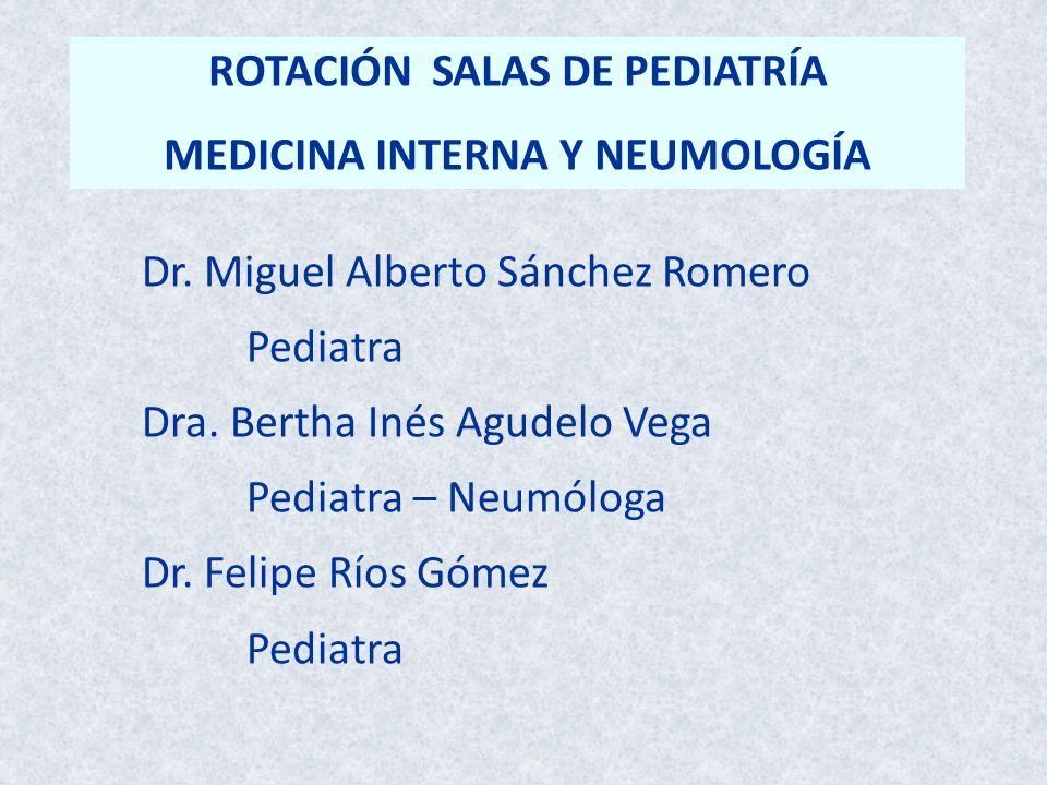 ROTACIÓN SALAS DE PEDIATRÍA MEDICINA INTERNA Y NEUMOLOGÍA Dr. Miguel Alberto Sánchez Romero Pediatra Dra. Bertha Inés Agudelo Vega Pediatra – Neumólog