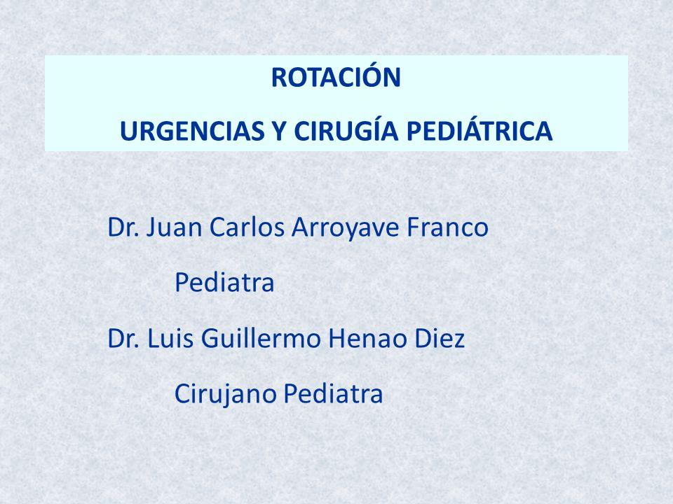 ROTACIÓN URGENCIAS Y CIRUGÍA PEDIÁTRICA Dr. Juan Carlos Arroyave Franco Pediatra Dr. Luis Guillermo Henao Diez Cirujano Pediatra