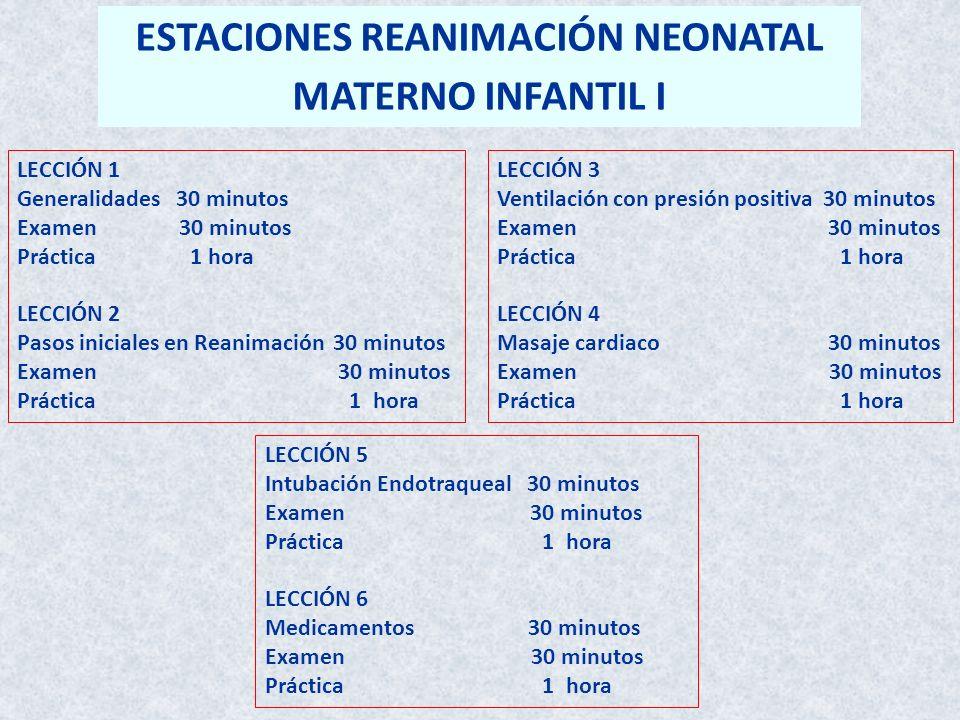 LECCIÓN 1 Generalidades 30 minutos Examen 30 minutos Práctica 1 hora LECCIÓN 2 Pasos iniciales en Reanimación 30 minutos Examen 30 minutos Práctica 1