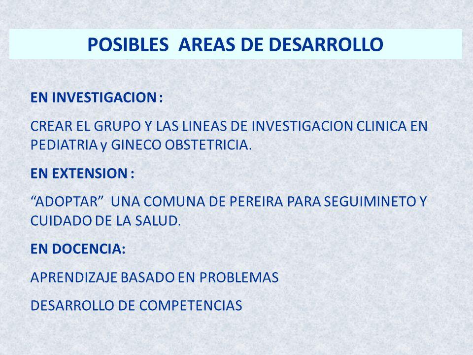 POSIBLES AREAS DE DESARROLLO EN INVESTIGACION : CREAR EL GRUPO Y LAS LINEAS DE INVESTIGACION CLINICA EN PEDIATRIA y GINECO OBSTETRICIA. EN EXTENSION :