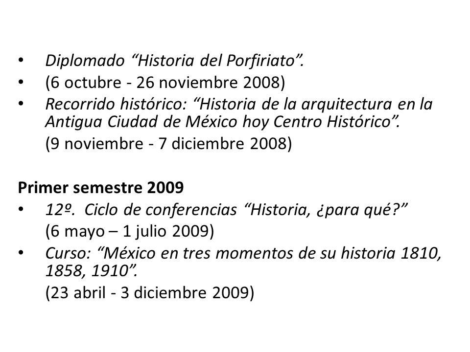 Diplomado Historia del Porfiriato. (6 octubre - 26 noviembre 2008) Recorrido histórico: Historia de la arquitectura en la Antigua Ciudad de México hoy