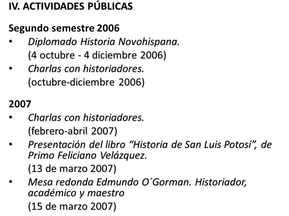 IV. ACTIVIDADES PÚBLICAS Segundo semestre 2006 Diplomado Historia Novohispana. Diplomado Historia Novohispana. (4 octubre - 4 diciembre 2006) Charlas