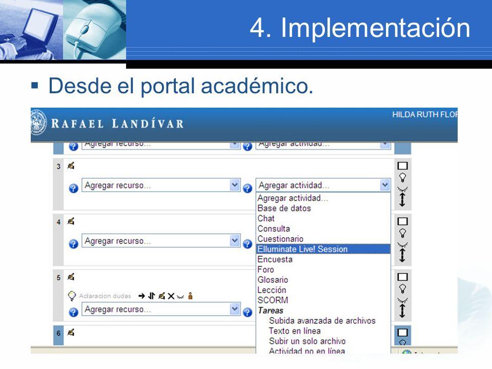 4. Implementación Desde el portal académico.