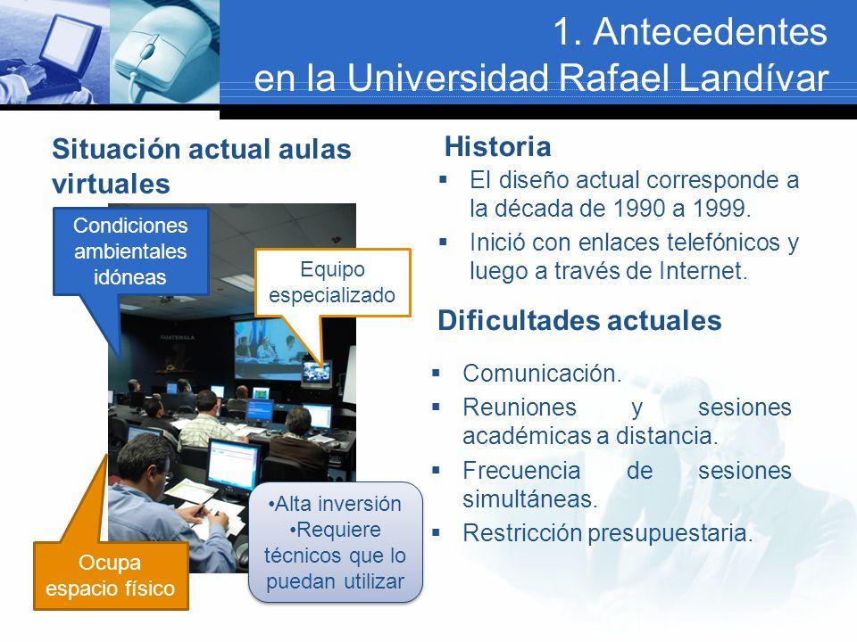 1. Antecedentes en la Universidad Rafael Landívar Situación actual aulas virtuales Historia El diseño actual corresponde a la década de 1990 a 1999. I