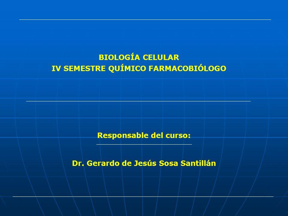 BIOLOGÍA CELULAR IV SEMESTRE QUÍMICO FARMACOBIÓLOGO Responsable del curso: Dr. Gerardo de Jesús Sosa Santillán