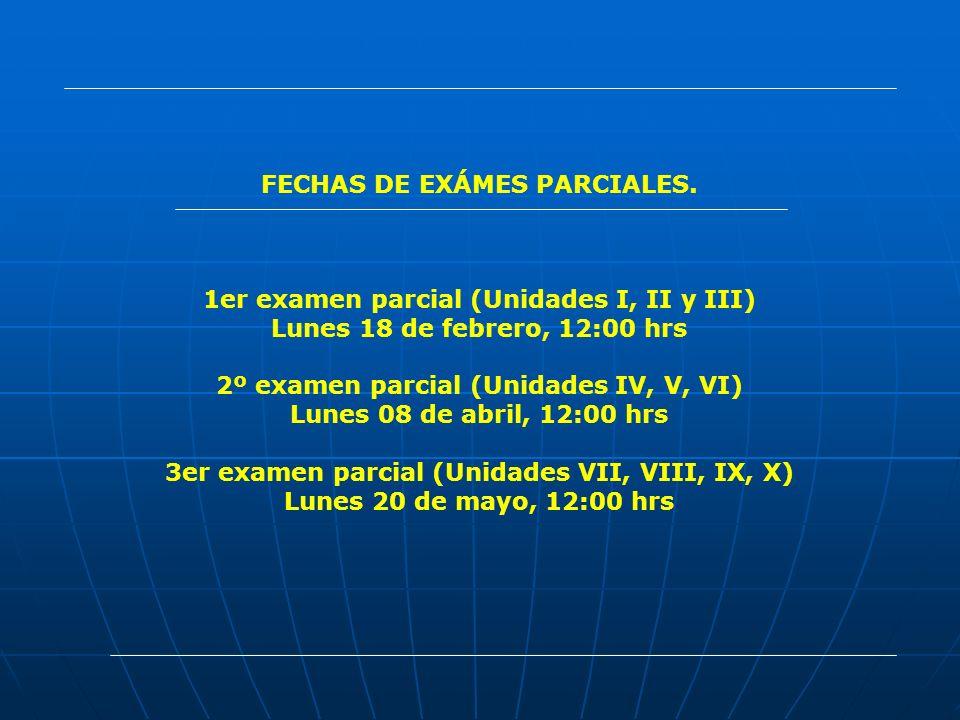 FECHAS DE EXÁMES PARCIALES. 1er examen parcial (Unidades I, II y III) Lunes 18 de febrero, 12:00 hrs 2º examen parcial (Unidades IV, V, VI) Lunes 08 d