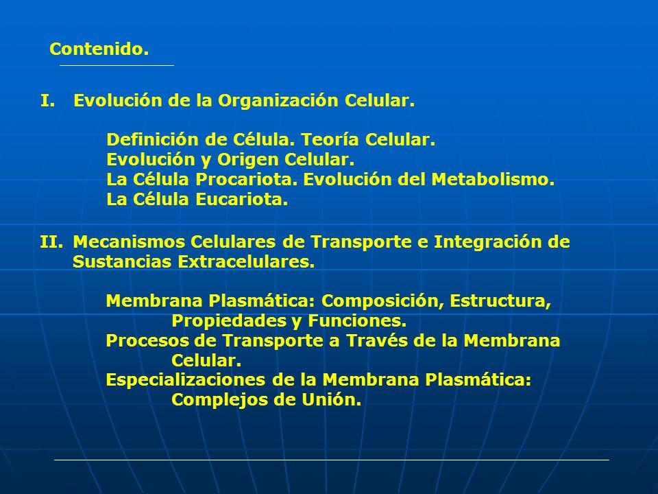 Contenido. I.Evolución de la Organización Celular. Definición de Célula. Teoría Celular. Evolución y Origen Celular. La Célula Procariota. Evolución d