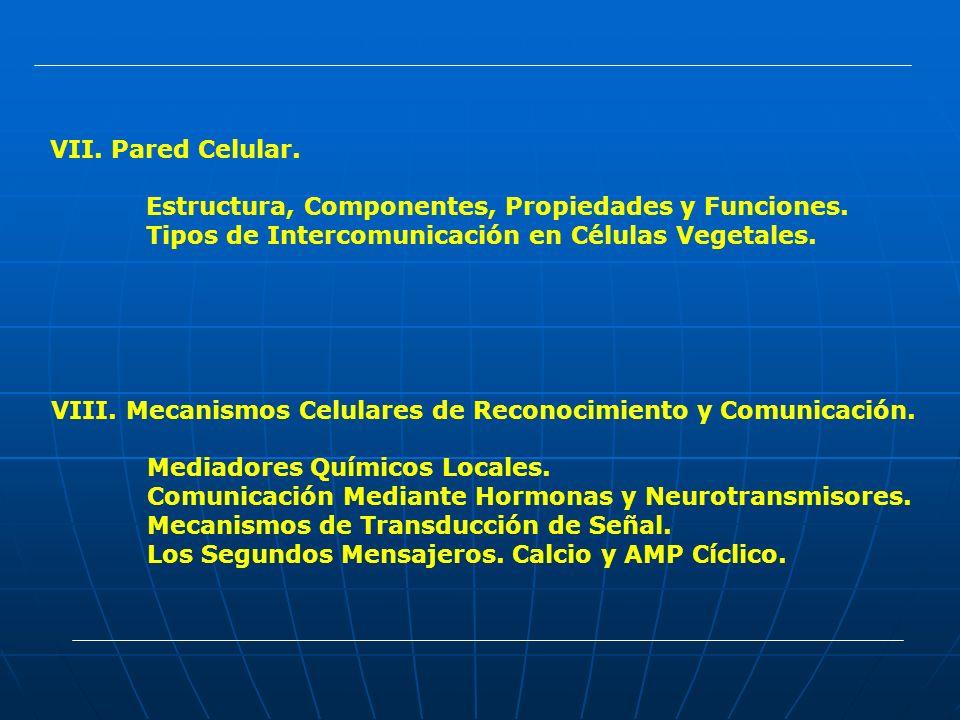 VII. Pared Celular. Estructura, Componentes, Propiedades y Funciones. Tipos de Intercomunicación en Células Vegetales. VIII. Mecanismos Celulares de R