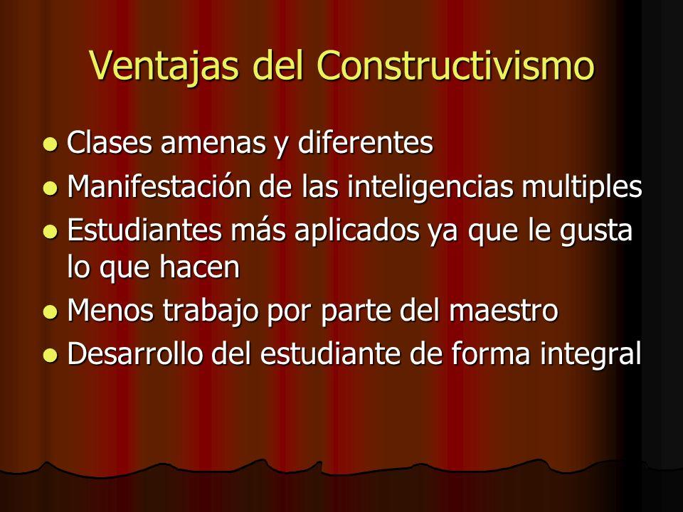 Ventajas del Constructivismo Clases amenas y diferentes Clases amenas y diferentes Manifestación de las inteligencias multiples Manifestación de las i
