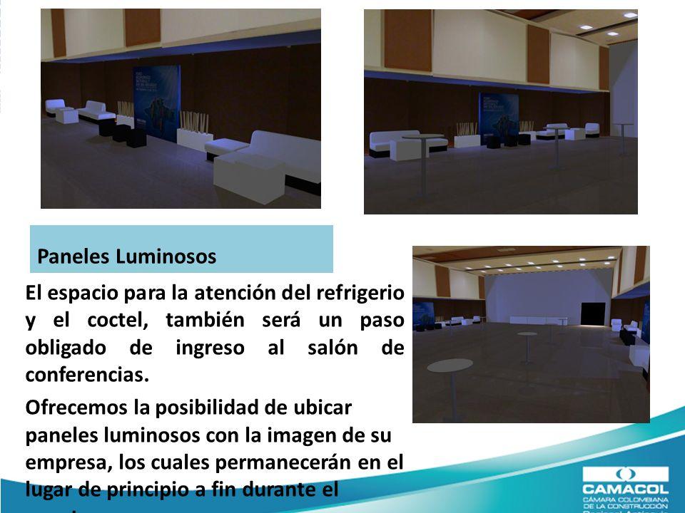 El espacio para la atención del refrigerio y el coctel, también será un paso obligado de ingreso al salón de conferencias.