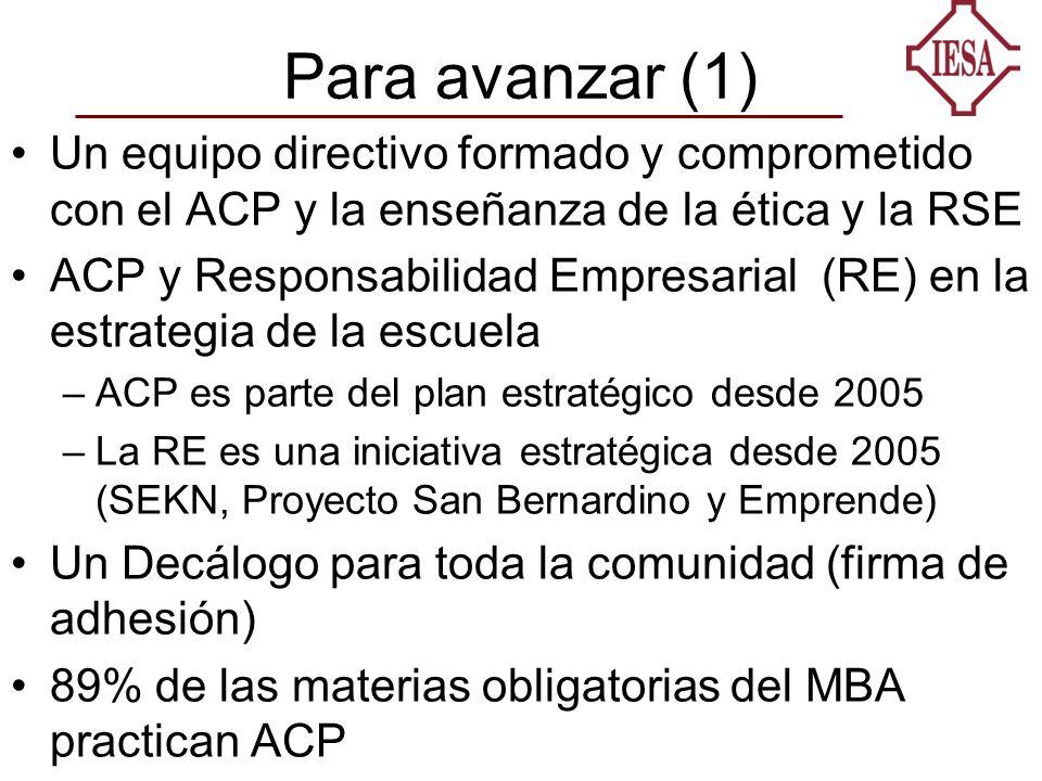 Para avanzar (1) Un equipo directivo formado y comprometido con el ACP y la enseñanza de la ética y la RSE ACP y Responsabilidad Empresarial (RE) en la estrategia de la escuela –ACP es parte del plan estratégico desde 2005 –La RE es una iniciativa estratégica desde 2005 (SEKN, Proyecto San Bernardino y Emprende) Un Decálogo para toda la comunidad (firma de adhesión) 89% de las materias obligatorias del MBA practican ACP
