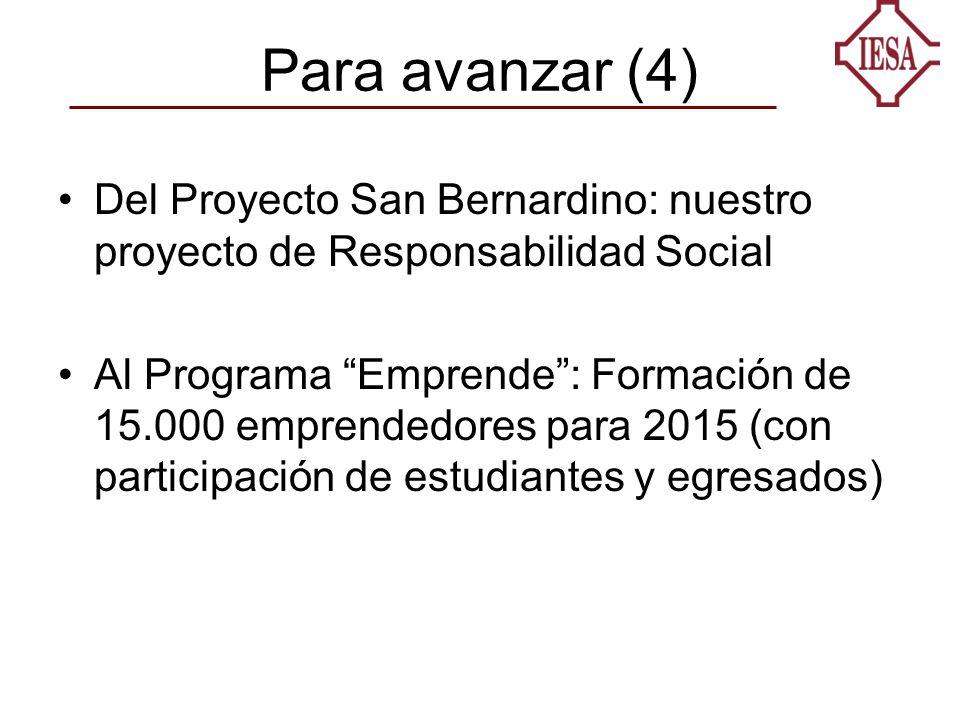 Para avanzar (4) Del Proyecto San Bernardino: nuestro proyecto de Responsabilidad Social Al Programa Emprende: Formación de 15.000 emprendedores para 2015 (con participación de estudiantes y egresados)