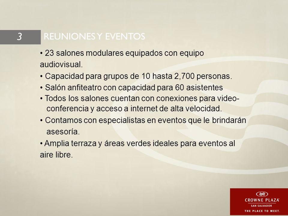23 salones modulares equipados con equipo audiovisual.