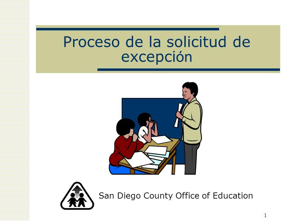 11 Notificar a los padres de todos los estudiantes EL EC § 310, 5CCR § 11309 Cada año escolar, el distrito debe notificar a los padres de todos los aprendices de inglés (K - 12 y todos los niveles de fluidez en inglés) de la oportunidad de solicitar una excepción.