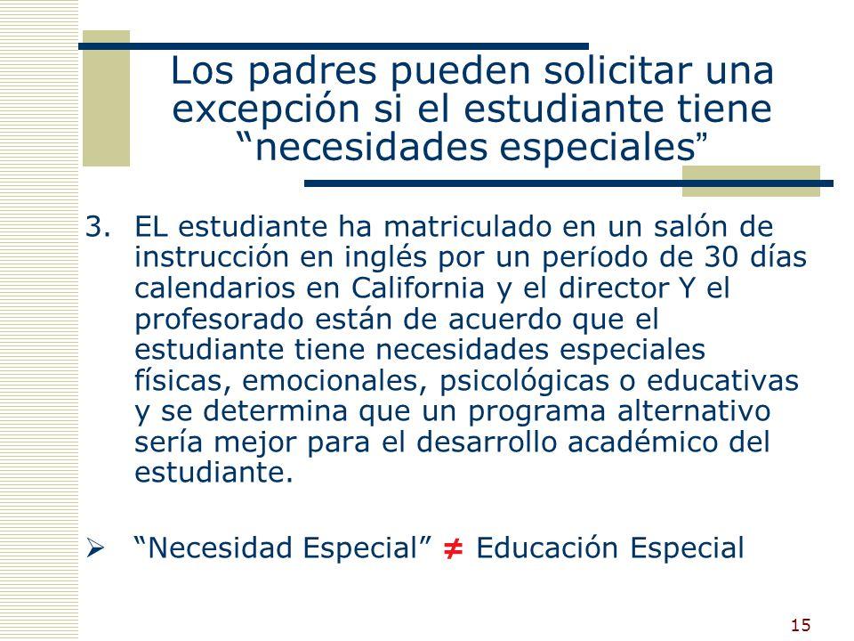 14 EC § 311 Los padres pueden solicitar una excepción si: 1.El estudiante ya sabe inglés (según exámenes estandarizados.) O 2.El estudiante tiene 10 o m á s años de edad y el director y maestro están de acuerdo que un programa de estudio alternativo sería más adecuado para el aprendizaje de destrezas básicas en inglés más eficaz.