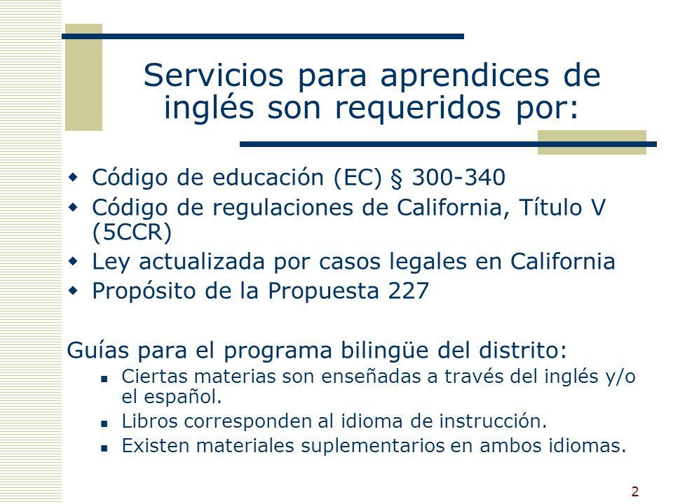 2 Servicios para aprendices de inglés son requeridos por: Código de educación (EC) § 300-340 Código de regulaciones de California, Título V (5CCR) Ley actualizada por casos legales en California Propósito de la Propuesta 227 Guías para el programa bilingüe del distrito: Ciertas materias son enseñadas a través del inglés y/o el español.