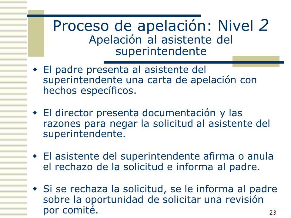 22 Proceso de apelación: Nivel 1 Apelación al director El director Y el profesorado proveen una explicación por escrito del rechazo, incluyendo información relevante del estudiante y datos de rendimiento académico.