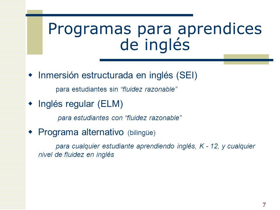 7 Programas para aprendices de inglés Inmersión estructurada en inglés (SEI) para estudiantes sin fluidez razonable Inglés regular (ELM) para estudiantes con fluidez razonable Programa alternativo (bilingüe) para cualquier estudiante aprendiendo inglés, K - 12, y cualquier nivel de fluidez en inglés