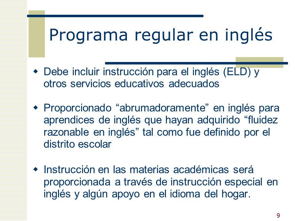 19 Aprobaci ón de la excepción Los estudiantes se matricularán en clases en las cuales serán instruidos en el desarrollo del inglés y otras materias académicas por medio de técnicas educativas bilingües y otras metodologías educativas generalmente reconocidas.