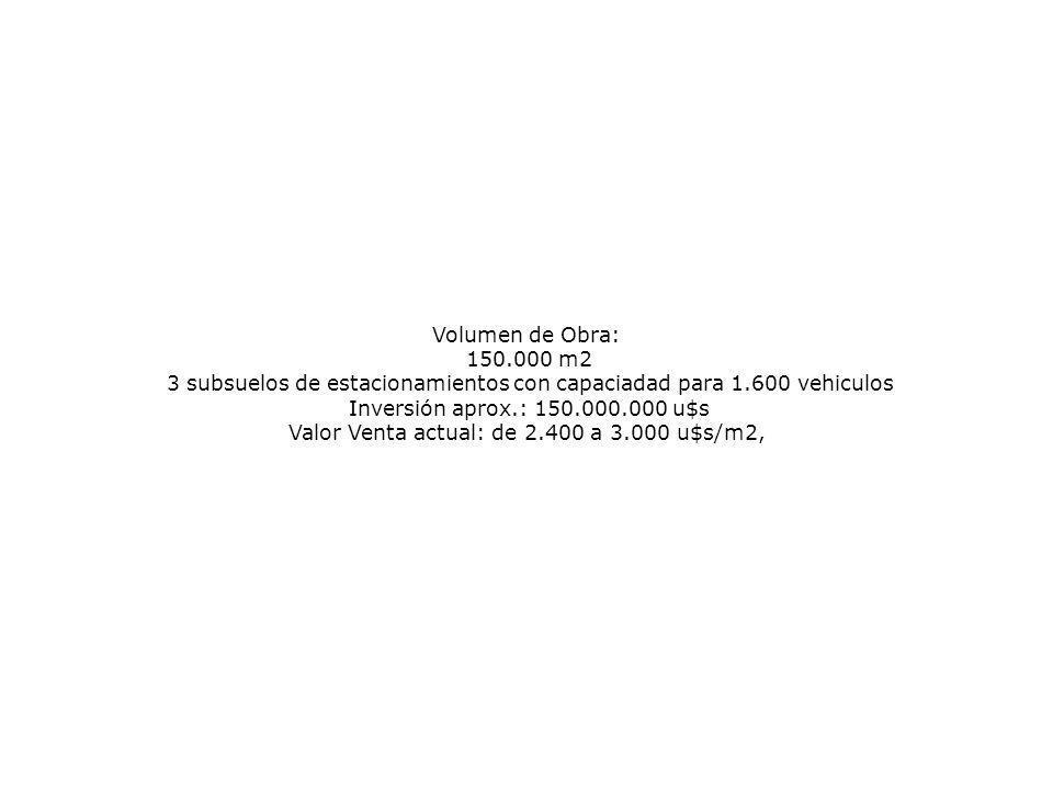 Volumen de Obra: 150.000 m2 3 subsuelos de estacionamientos con capaciadad para 1.600 vehiculos Inversión aprox.: 150.000.000 u$s Valor Venta actual: de 2.400 a 3.000 u$s/m2,