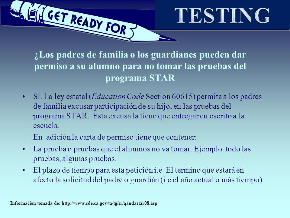 ¿Los padres de familia o los guardianes pueden dar permiso a su alumno para no tomar las pruebas del programa STAR Si. La ley estatal (Education Code