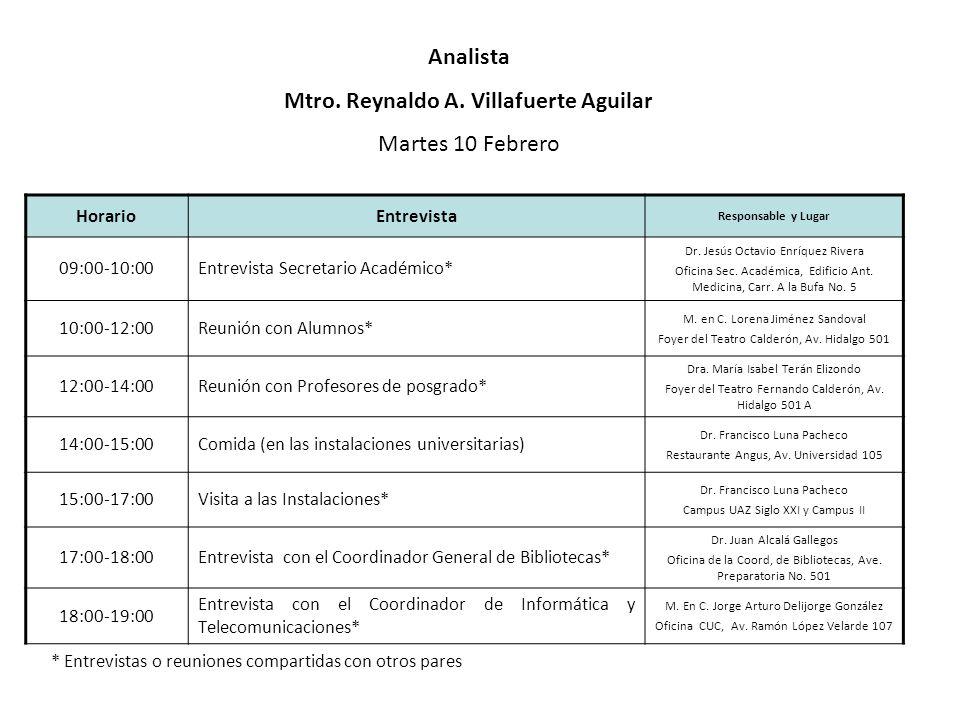 HorarioEntrevista Responsable y Lugar 09:00-10:00Entrevista Secretario Académico* Dr. Jesús Octavio Enríquez Rivera Oficina Sec. Académica, Edificio A