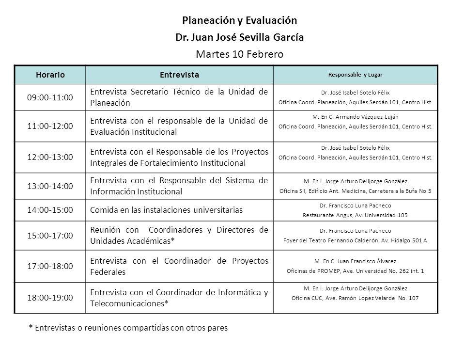 HorarioEntrevista Responsable y Lugar 09:00-11:00 Entrevista Secretario Técnico de la Unidad de Planeación Dr. José Isabel Sotelo Félix Oficina Coord.
