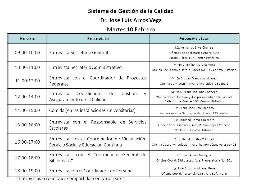HorarioEntrevista Responsable y Lugar 09:00-10:00Entrevista Secretario General I.Q. Armando Silva Chaírez Oficinas de Secretaría General UAZ Jardín Ju