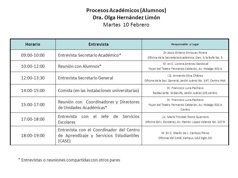 HorarioEntrevista Responsable y Lugar 09:00-10:00Entrevista Secretario Académico* Dr.