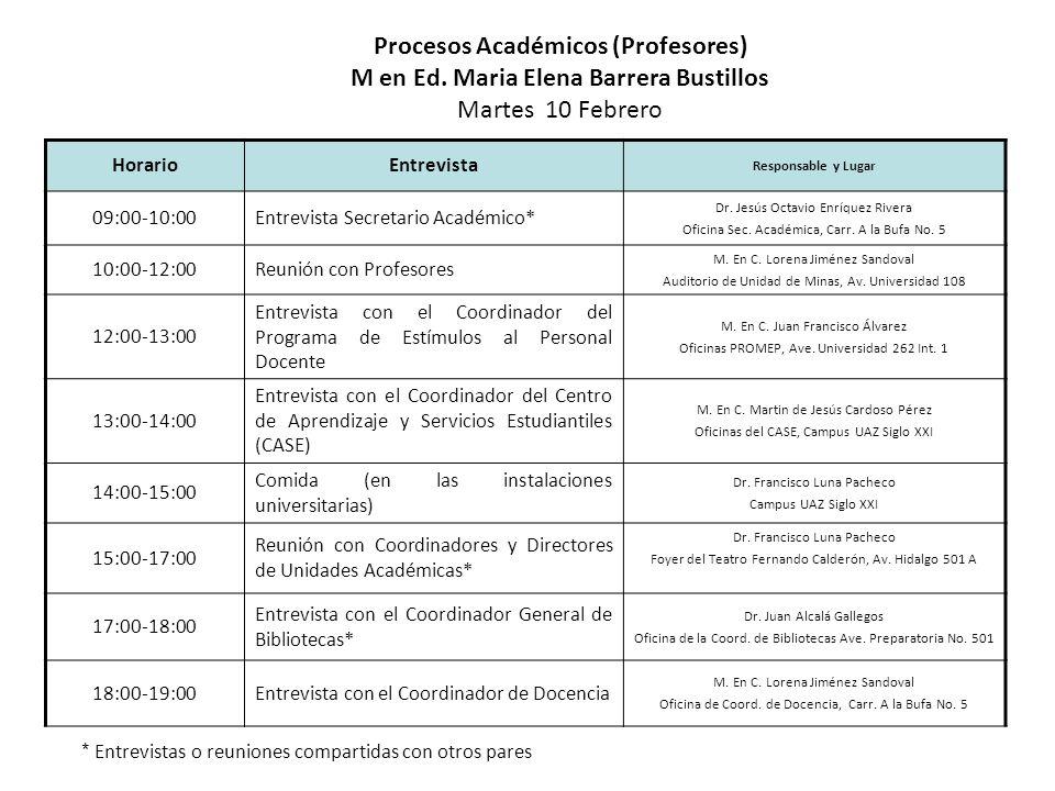 HorarioEntrevista Responsable y Lugar 09:00-10:00 Entrevista Coordinador de Investigación y Posgrado Dra.