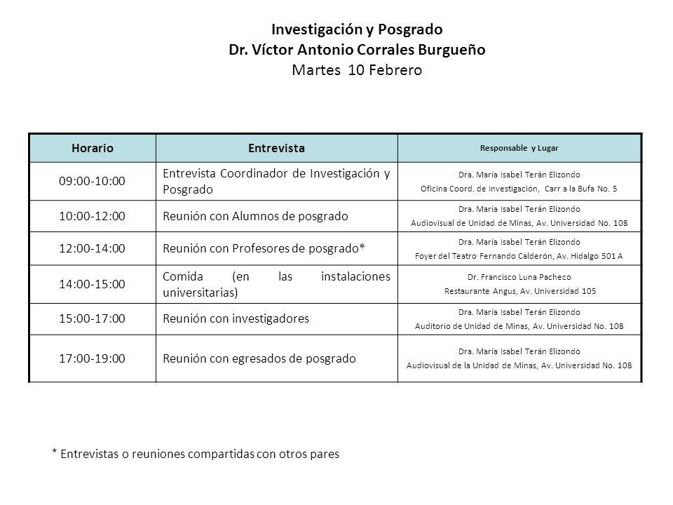 HorarioEntrevista Responsable y Lugar 09:00-10:00 Entrevista Coordinador de Investigación y Posgrado Dra. María Isabel Terán Elizondo Oficina Coord. d
