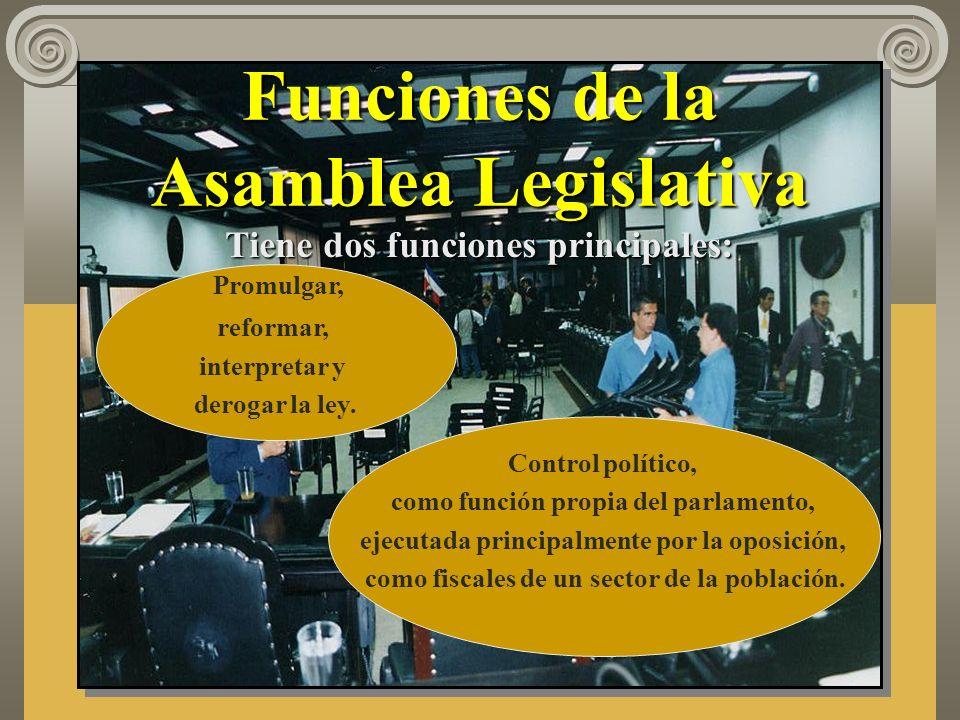 Funciones de la Asamblea Legislativa Promulgar, reformar, interpretar y derogar la ley.