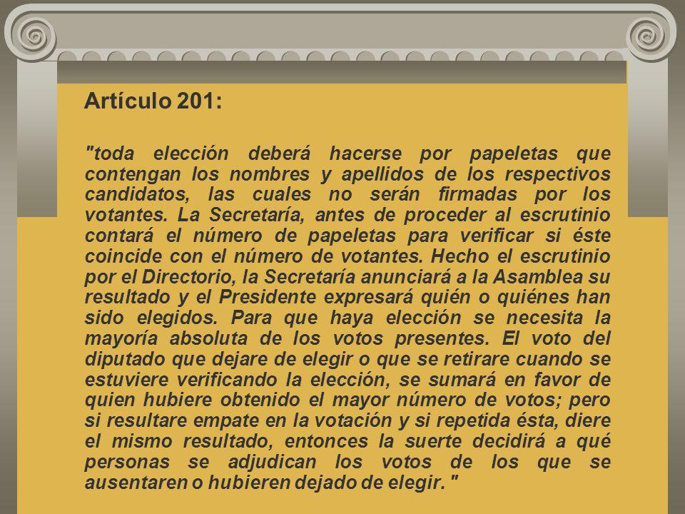 El Reglamento Legislativo, artículos 201 y 202, se refiere al procedimiento para llevar a cabo los nombramientos que debe hacer la Asamblea Legislativ