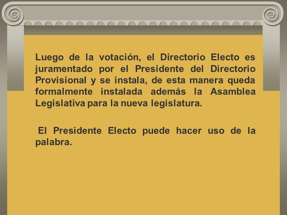La votación es secreta y se hace por papeleta, cargo por cargo, de las siguiente manera: Primero el Presidente Vicepresidente Primer Secretario Segund