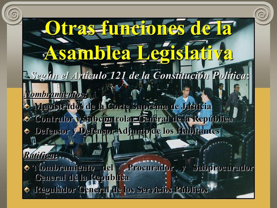 Funciones de la Asamblea Legislativa Promulgar, reformar, interpretar y derogar la ley. Control político, como función propia del parlamento, ejecutad