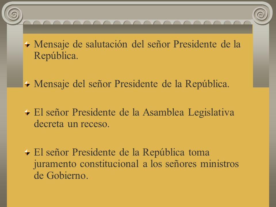 Toma de posesión del la Presidencia de la República. Juramentación Constitucional del señor Presidente de la República. Imposición de la banda preside