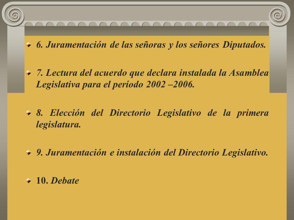 1. Reunión de las señoras y de los señores diputados en el salón de Sesiones Plenarias. 2. Apertura de la sesión. 3. Instalación del Directorio Provis